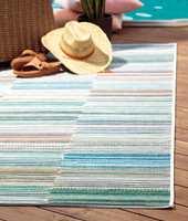 <b>TEPPE:</b> Utetepper tåler vær og vind, og tørker raskt etter en regnskur. Teppet Cartagena er fra InHouse.
