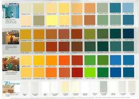 Jotuns fargekart fra 1995 hadde mange navn med assosiasjoner til gammel bondekultur. Her var Dølablå, Hallinggul, Bygderød, Bondeblå, Valdresbrun og Telegrønn. Bondefargene var kraftige, men dempede, mens nykomlingene Gla gul og Gla orange var sterke og rene, og viste hvor gla(d) tiåret var i disse fargene.