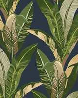 <b>BANAN:</b> Med bananpalmer på blå bakgrunn får du et rom med en frodig og frisk atmosfære, en god oppfølger til et rom malt i krydret honninggult. Tapetet Vivid 384504 føres av Storeys.
