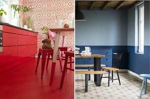 <b>ÅRETS FARGER:</b> Rødt og blått er årets farger 2017, ifølge Fargerike og Nordsjö. (Foto f.v.: Per Erik Jæger/Fargerike, Stylist: Siv Brenne. Foto f.h.: Nordsjö)