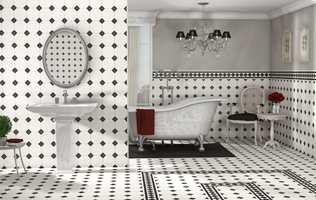 Gulvet på badet holdes rent med fortrinnsvis tørre metoder.