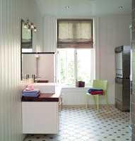 Malt eller beiset panel er en mulighet på bad om rommet er godt ventilert, men det må ikke brukes i våtsonene.