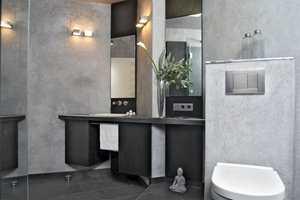 Pusset stucco eller terrastone er alternativ vi finner f.eks. på bad i Frankrike og Italia.