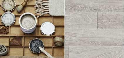 <b>NATUR:</b> Hva med lys natur på badet? Våtromsvinyl som hvitkalket eik er vanntett følge til farger og tilbehør fra naturen. (Foto: f.v. Beckers, Tarkett)