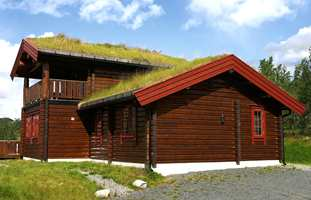 En ny og nylig behandlet hytte - en mellombrun transparent farge og røde dekkende detaljer.