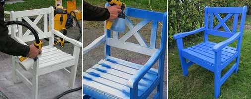 <b>STEG 4, 5 OG 6:</b> Spray grunningen på stolen og la tørke. Så sprayes toppstrøket på og stolen er ferdig når den er tørr! Vi brukte en dør- og vindusmaling fra Nordsjö i fargen «Dazzling Dijon». (Foto: Robert Walmann/ifi.no)