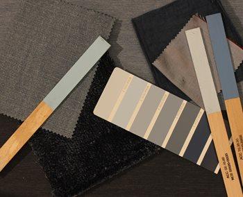 cf9594e3 TON-I-TON: Her er det en farge som varieres i lysere og mørkere nyanser. En  slik palett får mer liv med variasjon i tekstur og matt blankt.