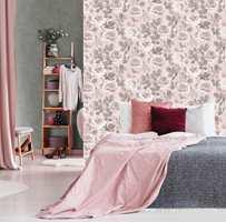 <b>FEMININT:</b> Rosemønster og rosa farger, ja, da blir det feminint og søtt. Tapetet er fra Kallkmix-kolleksjonen fra Borge.
