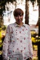 - Alle trodde jeg var gæren da jeg ønsket det mørke palmetapetet på flere vegger, sier Birgit Torkildsby.
