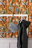 <b>HELE PALETTEN:</b> Med et flerfarget, mønstret tapet kan du skape en gnistrende inngang. Liker du tapetet kan du plukke opp farger fra mønsteret til de andre rommene. Tapetet er fra Scandinavian designII/Borge. (Foto: Borge)