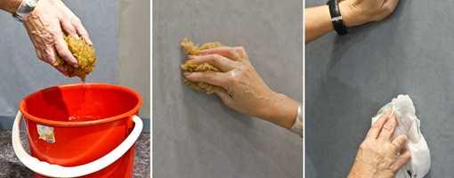 <b>RENT:</b> Innstruksen er: rent vann - hele tiden. Limsølet fjernes best med en fuktet svamt. Ops, det ble litt mye vann her, men det er ingen krise på dette tapetet. Fornøyd med skjøten, forresten! (Foto: Mari Rosenberg/ifi.no og Chera Westman/ifi.no)