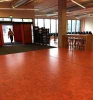 <b>KRAFTFULLT:</b> Kantineområdet har fått rødt gulv i Marmoleum Vivace, hvor hele 8 farger er mikset og danner et spennende fargespill. Her kommer man inn utenfra, så for å sikre at skitt og søle ikke tråkkes ned i linoleumen, er det lagt store avskrapningsmatter innenfor døren.