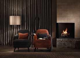 Rene myke linjer, dempede farger og tekstiler bidrar til en sofistikert og elegant atmosfære. Tekstiler fra INTAG.