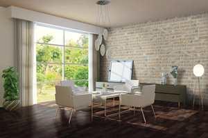 La veggen bak spisebordet eller fondveggen i stuen få en rustikk og industriell look med flisene Underground.
