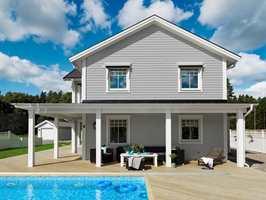 Grått er en populær fasadefarge som fungerer fint i eneboligstrøk der husene har forskjellige stil. Denne fargen heter Beckers Tinn 007.