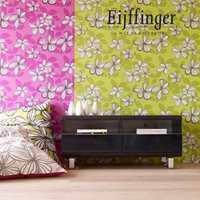 Friske gul- og grønnfarger er noen av trendfargene det kommer mer av.  Eijffinger sin nye kolleksjon Flot reflekterer denne trenden med en ny vri. Fancy blomster og blader skaper et sprudlende hjem.