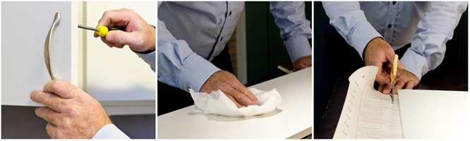 <b>STEG 1, 2 OG 3:</b> Skru løs skapdører og håndtak, vask og tørk bort støv (evt. slip lett), og grovklipp deretter.