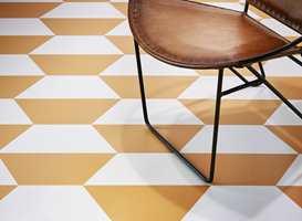 <b>FRISKT PUST:</b> Mønsteret Precious i kraftfull oransje og hvitt. (Foto: Tarkett)