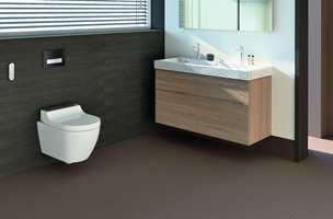<b>KOMPAKT:</b> Det nye dusjtoalettet AquaClean Tuma fra Geberit har en kompakt form, som utnytter plassen optimalt. Det ble også vist grundig frem under byggvaremessen i Paris. (Foto: Geberit)