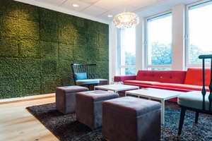 <b>MOSEN SOM LEVER:</b> Flere vegger i kontorlokalene er kledd med levende mose. Den skaper en unik atmosfære og fungerer som lyddemper I tillegg er den veldig dekorativ, sier prosjektleder hos E. C. Dahls Eiendom AS, Lisa Johannesen.