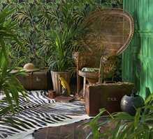 <b>JUNGEL:</b> Med et saftig grønt jungeltapet kan entreen bli som en hagestue. Tapetet er fra Cole&Son/Borge. (Foto: Borge)