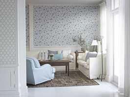 Falsterbo er et nytt fibertapet fra Borge. Originalmønsteret er fra 1800-tallet og passer godt til hele rommet.