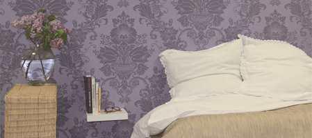 Dust syrinlilla er en trendfarge også på veggene! Dette tapetet er fra kolleksjonen Casting.