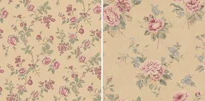 <b>KLASSISK:</b> For den som trives best med klassiske rosetapeter, har Fantasi Interiør en kolleksjon som vekker til live alle gode «bestemor»-følelsene. Tapetet finnes med små og store roser og kan kombineres med striper og ruter fra samme kolleksjon.