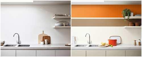 <b>FØR OG ETTER:</b> Det er lite som skal til;Det hvite kjøkkenet blir som nytt med  to malte striper over kjøkkenbenken. Fargene er fra Nordsjö, årets farge Spaced Honney i kompani med den svært aktive oransje E0.62.53 fra Nordsjö's fargesystem.