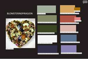 <b>MOODBOARD:</b> Det vakre blomsterhjertet er et flott moodboard i seg selv. Her har vi latt oss inspirere, og brukte IFIs moodboard og fant farger som harmonerer til et helt hus.