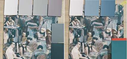 <b>KOMBINER:</b> Fargene i tapetet åpner for mange muligheter. I kombinasjon med gråaktige grønntoner blir uttrykket rolig. I kombinasjon med litt mer fargesterke blågrønne toner kommer fargene i tapetet tydeligere fram. Et lite innslag korall får det hele til å sprudle litt. (Foto: Mari Rosenberg/ifi.no)