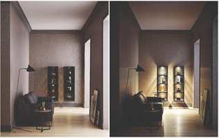 <b>NY PEIS:</b> En personlig og fargesterk løsning med vegger og peis malt i samme farge. Fargen er fra Beckers og heter Kolibri766.