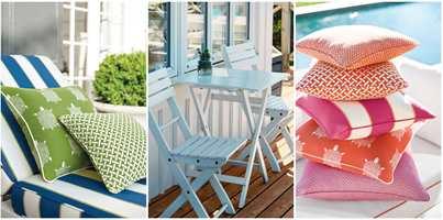<b>GOD BASIS:</b> Med hvitt hus og hvite hagemøbler har du en fin basis, og kan mikse og matche farger og mønster på puter for å skape sommerstilen.  Putene er sydd av tekstiler fra Thibaut og er spesialbehandlet for utebruk. Føres av Green Apple.
