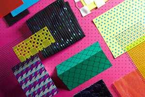 Det materialet, den fargen eller nyansen som ikke er aktuell nå, finnes ikke. Denne materialcollagen er fra Heimtextil.