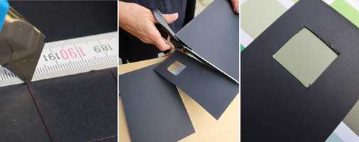 <b>DIN RAMME:</b> Lag dine egne rammer av kartong. Mål opp og skjær ut et hull litt mindre enn fargeprøvene, og test selv.