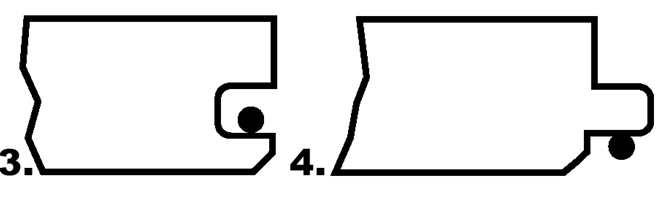 Figur 3 og 4 vil sikre god liming mellom underleppa og fjæras underside. Limet gir ikke forsegling av slitebeleggets kanter, men oljebehandling vil i noen grad kompensere for dette. Fordelen ved denne limpåføringen er at man ikke får limsøl på overflaten av ubehandlet parkett.