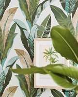 <b>BANANBLADER:</b> Fra dette mønsteret kan du gå videre med grønt, sandfarget, blåtoner og brunt. Når du finner et mønster du liker har du et godt utgangspunkt for å lande fargene til resten av boligen.