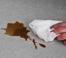 <b>RASK:</b> Vær rask og ta flekken med én gang, enten du søler kaffe eller rødvin. Legg tørkepapir over den våte flekken og la den trekke til seg fukten. (Foto: Bjørg Owren/ifi.no)