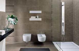 Samme farge på vegg og gulv skaper en fin helhet.