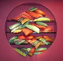 Tutti-frutti-farger - fargerike med innslag av større ornamenter.