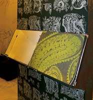 Tapetmønstre i kunstnerisk sort-hvitt motiv. Og frisk grønnfarge gjelder også på tapet.
