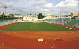 Nye Bislett Stadion i de siste ukene før Bislett Games. Stadion har 15.400 sitteplasser.