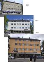 Glommengata i tre utgaver: grått hvitt og gult – henholdsvis 2007, 2013 og 2016. Fargene har blitt snakkis og det skal mye til for at folk nå maler grått i Konsvinger.