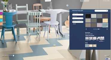 Hos Forbo kan du leke deg med ulike mønstre og måter å sette sammen gulvet på.