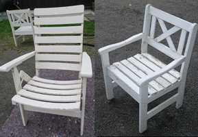 <b>DET VAR EN GANG</b> To velbrukte stoler med avslitt maling. (Foto: Robert Walmann/ifi.no)