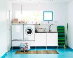 Vaskemaskin og tørketrommel kan med fordel flyttes litt opp i høyden.