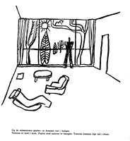 Tegning av Le Corbusier. Med store vindusflater skulle naturen og trærne komme inn i stuen.