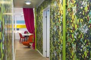 Korridoren utenfor kontorene hos Ramsøskar framstår som en fargerik jungel. De som kommer hit ender ikke opp med hvitt og grått.
