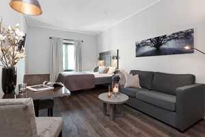 <b>HJEMMEKOSELIG: </b>Fredensborg Apartment ønsket leiligheter med hjemmekoselig, behagelig og varm atmosfære, samt litt «landlig» stil siden eiendommen befinner seg på Gardermoen.