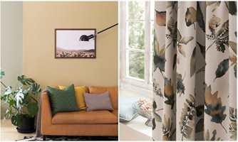 <b>GULTONER:</b> Gardiner med mønster (Borge) som tar opp noe av fargene fra veggen (Butinox) skaper en fin helhet.